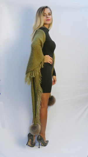 oversized fringe scarf in moss green mohair with fur pom poms