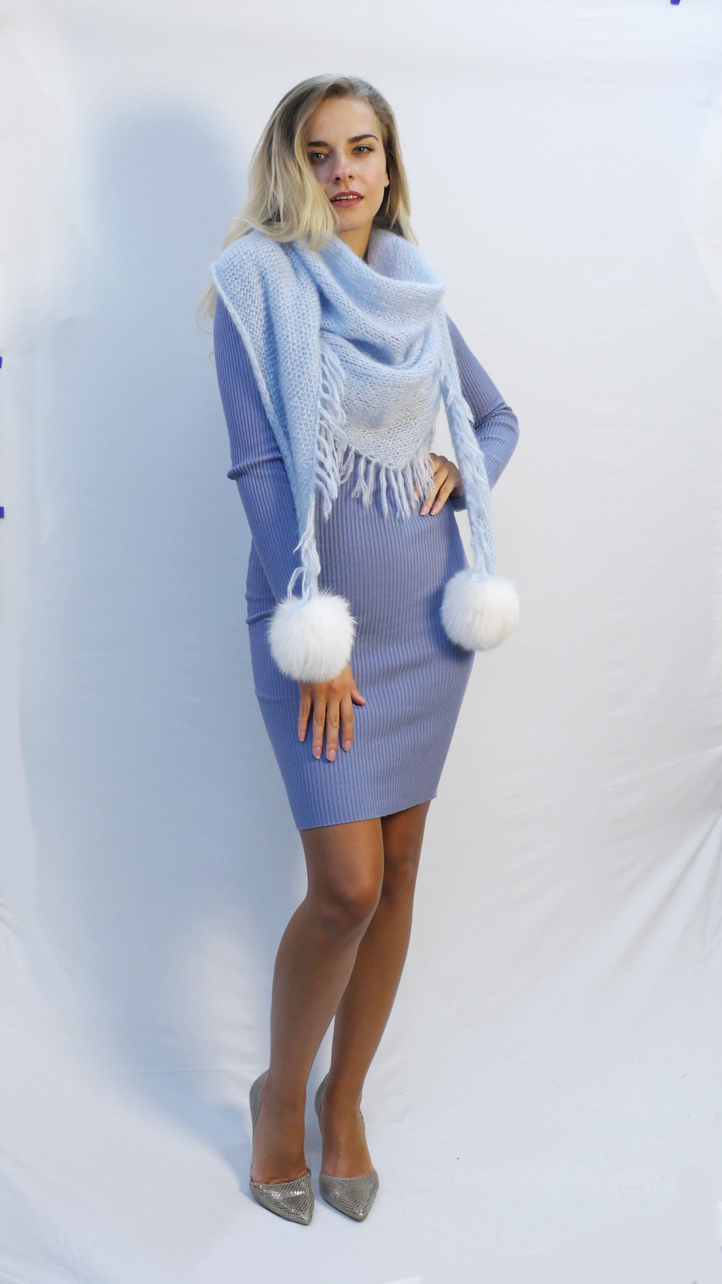 oversized fringe scarf in sky blue mohair with fur pom poms