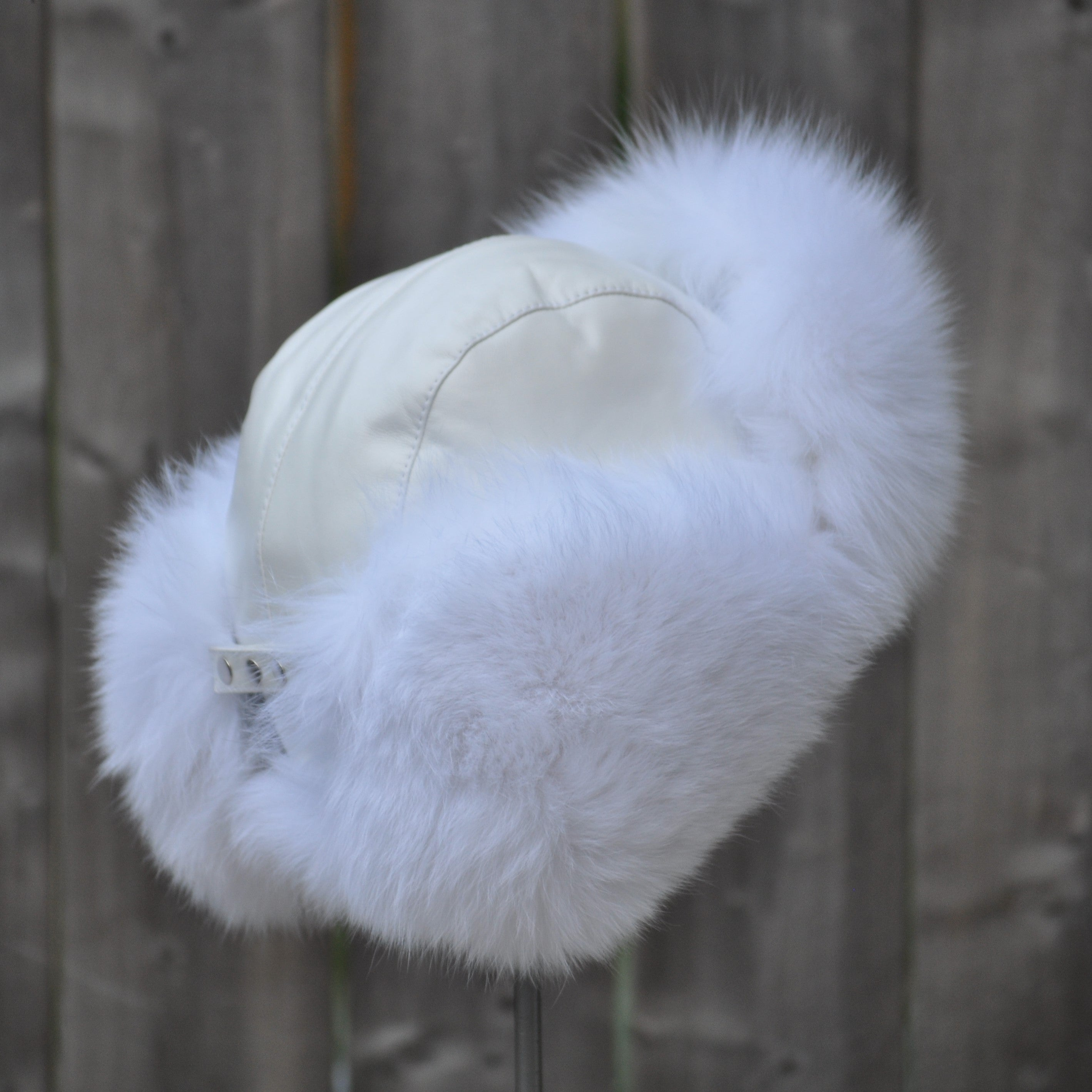 Aviator White Fur Winter Hat