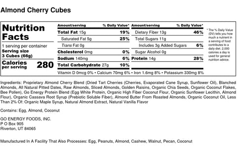 Almond Cherry Ingredients and Nutrition Information