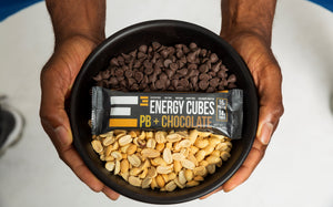 organic ingredients healthy fresh clean, Fair-trade chocolate chips, peanuts, peanut butter E3 Energy Cubes Protein Bar