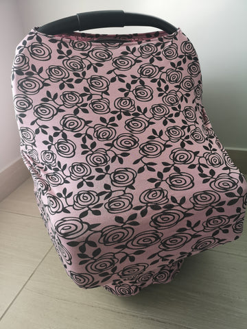 Car Seat / nursing cover pink roses