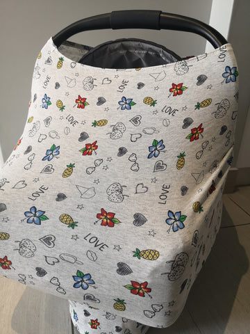 Car Seat / nursing cover fruity love