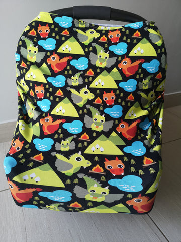 Car Seat / nursing cover green monsters
