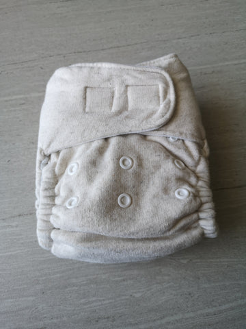 Cotton fleece Fitted nappy -velcro- heavy wetter- OSFM - Cream