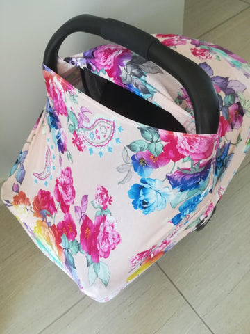 Car seat / nursing cover peach floral