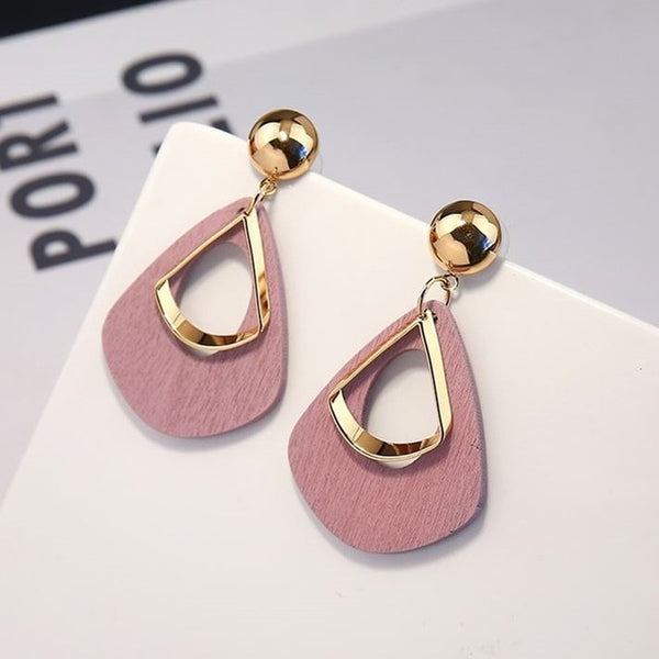 Drop Earrings in Wood Model Trapani (3 Colors) - MEEDIL