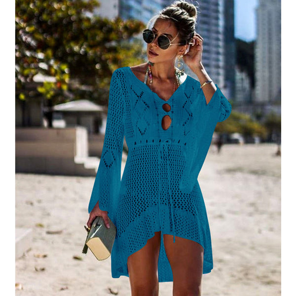 New Sexy Cover Up Bikini Women Swimsuit Cover-up Beach Bathing Suit Beach Wear Knitting Swimwear Mesh Beach Dress Tunic Robe - MEEDIL