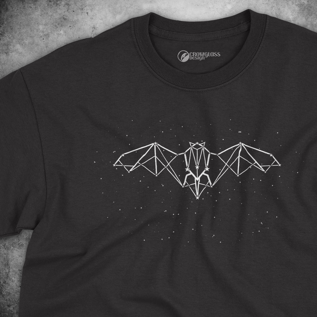 black t-shirt with stars and a bat constellation