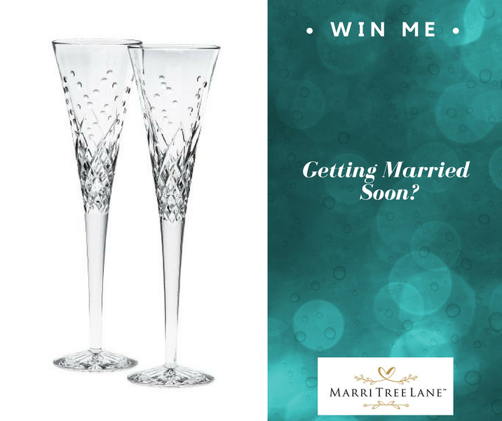 Giveaway Happening Now!  WIN a Pair of $150 Crystal Toasting Flutes for your Wedding Day!