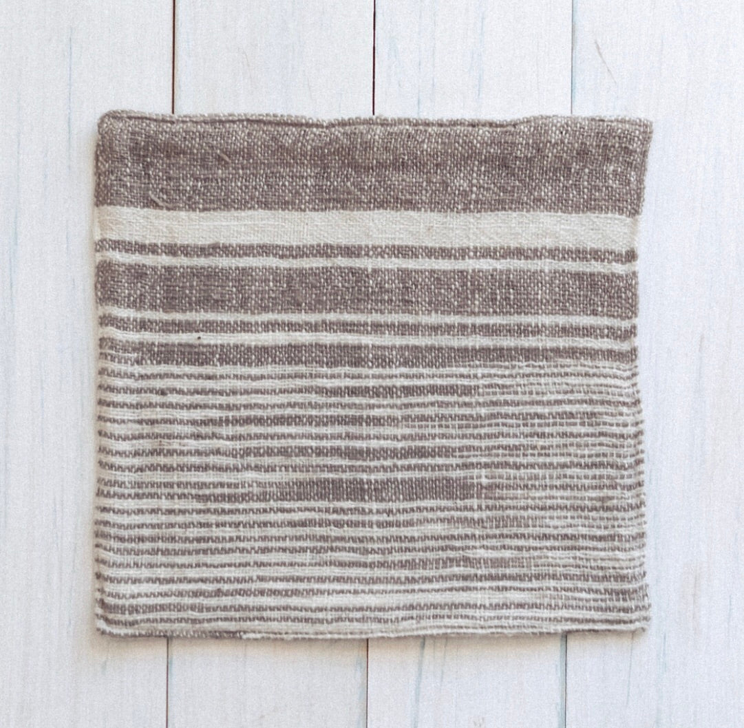 Mekong Clay & Natural Cotton Stripe Face Washer