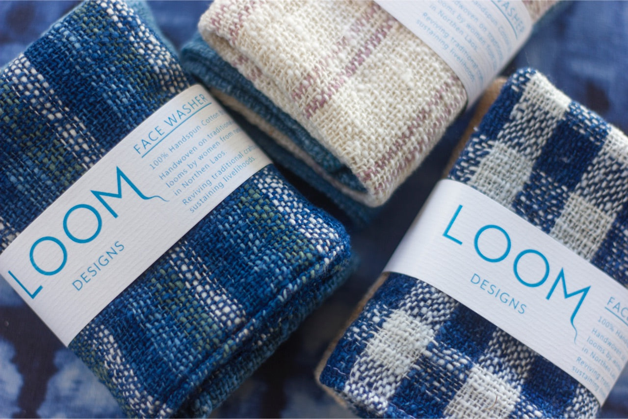 Indigo & Natural Cotton Stripe Hand Towel