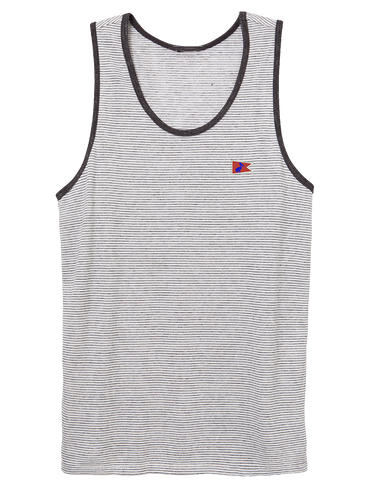 Men's Dockside Tank Oatmeal Seaside Stripe