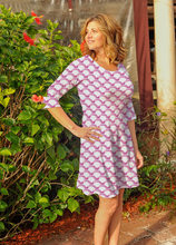 Load image into Gallery viewer, Betsy 3/4 Sleeve Dress Pink Waves