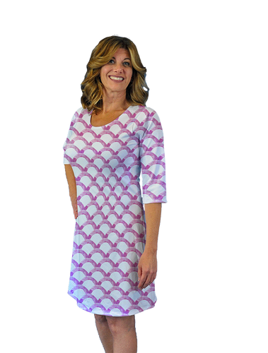 Betsy 3/4 Sleeve Dress Pink Waves
