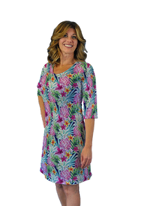 Betsy 3/4 Sleeve Dress Watercolor Pineapple
