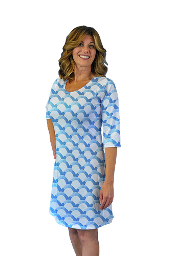 Betsy 3/4 Sleeve Dress Blue Waves
