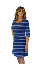 Load image into Gallery viewer, Betsy 3/4 Sleeve Dress White Stripes
