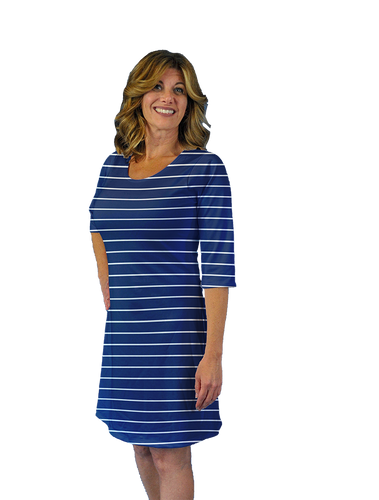 Betsy 3/4 Sleeve Dress White Stripes