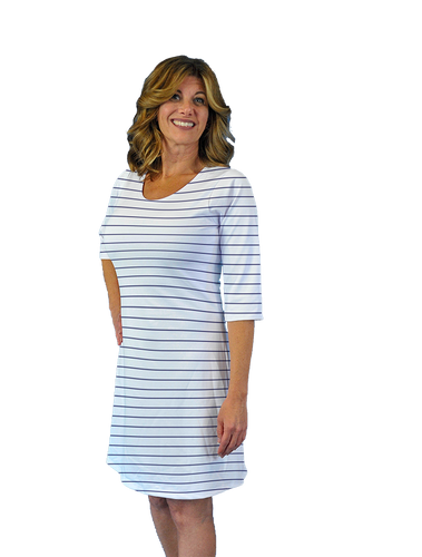 Betsy 3/4 Sleeve Dress Navy Stripe