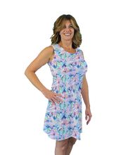 Load image into Gallery viewer, Betsy Sleeveless Dress Watercolor Hybiscus