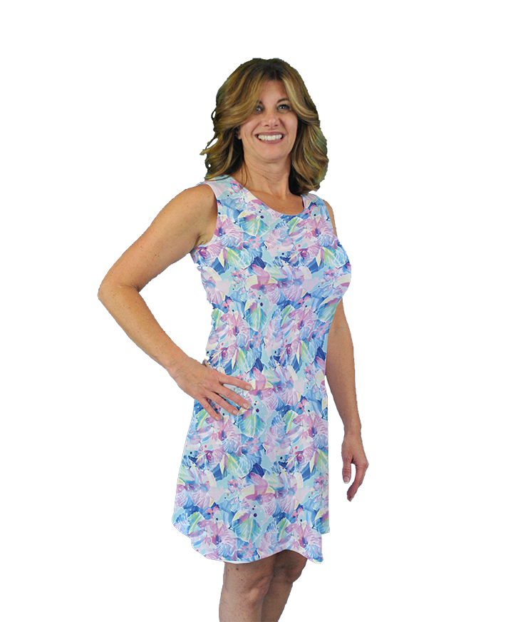 Betsy Sleeveless Dress Watercolor Hybiscus