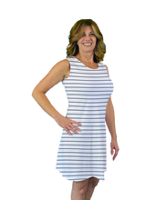 Load image into Gallery viewer, Betsy Sleeveless Dress Navy Stripe