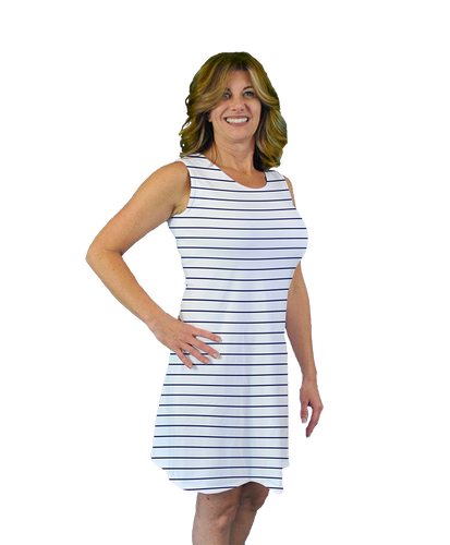 Betsy Sleeveless Dress Navy Stripe