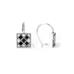 Princess Cut Black Diamond Drop Earrings