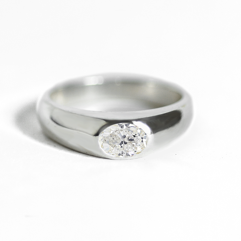 Oval Diamond Signet Ring