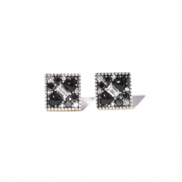 Black & White Diamond Mosaic Studs