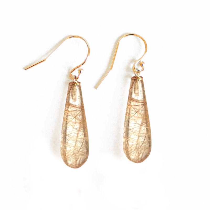 Gold Rutilated Quartz Drop Earrings