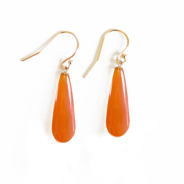Orange Carnelian Gold Drop Earrings