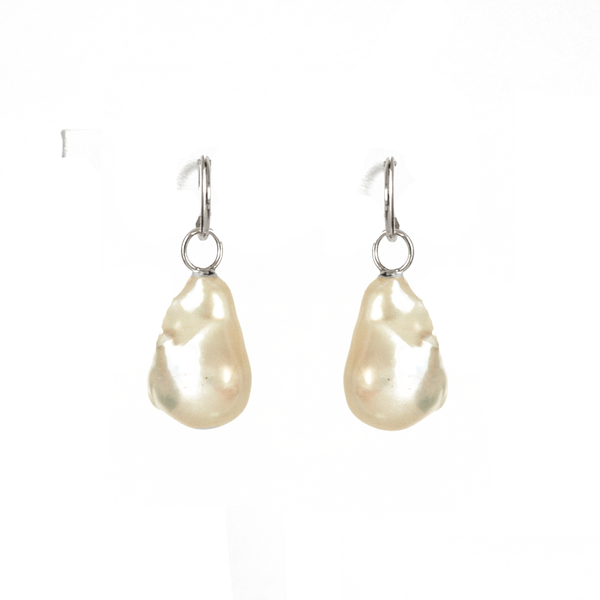 Medium Baroque Pearl & Gold Hoop Earrings