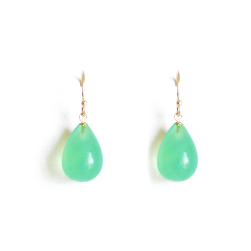 Green Chalcedony Gold Drop Earrings