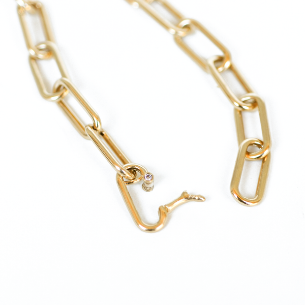 Gold Paperclip Chain Diamond Bracelet