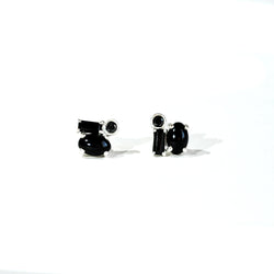 Black Diamond Cluster Silver Stud Earrings