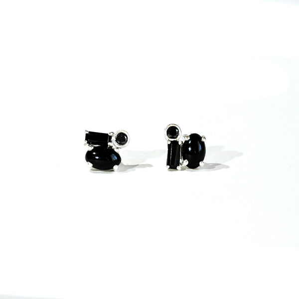 Black Diamond Cluster Earrings