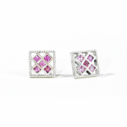 Princess Cut Pink Sapphire Stud Earrings