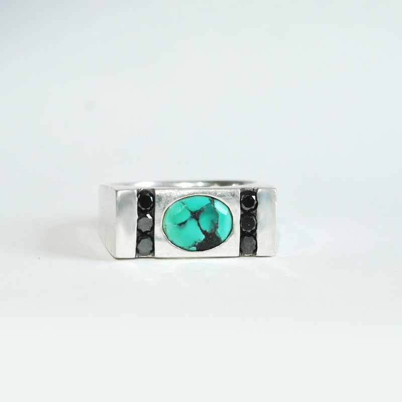 Turquoise & Black Diamond Men's Engagement Ring