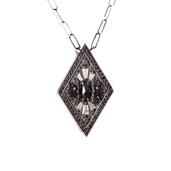 Black & White Diamond Kite Shape Necklace