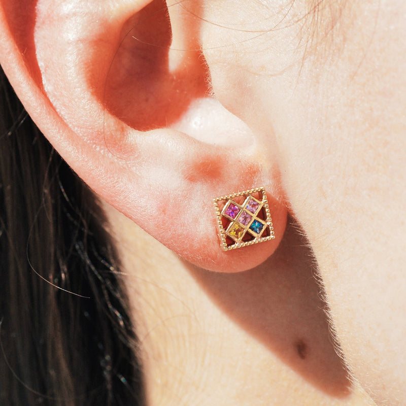 Square Multi Colored Sapphire Mosaic Stud Earrings
