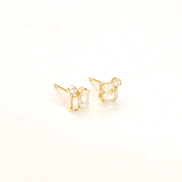 Rose Cut Diamond Cluster Earrings