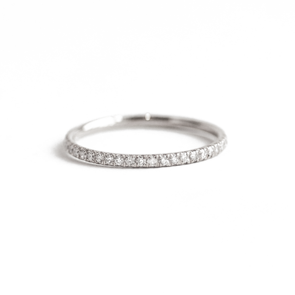 Delicate French Pavé Eternity Diamond Wedding Ring