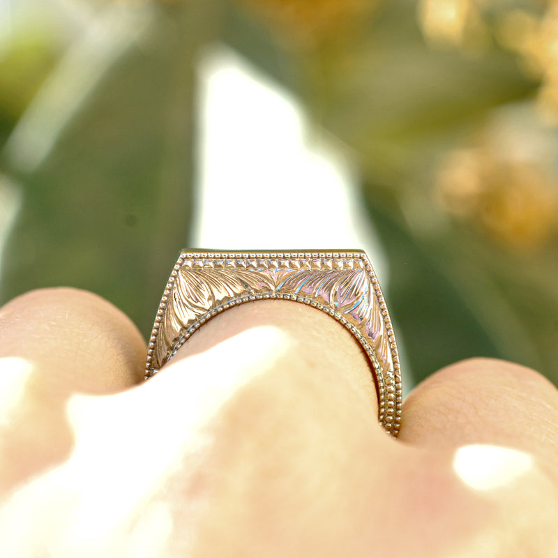 Square Engraved Mens Wedding Ring