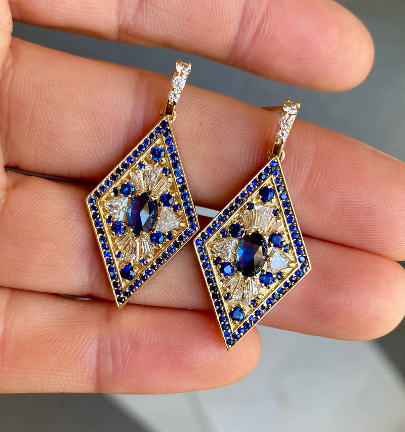 Kite Shape Sapphire and Diamond Earrings