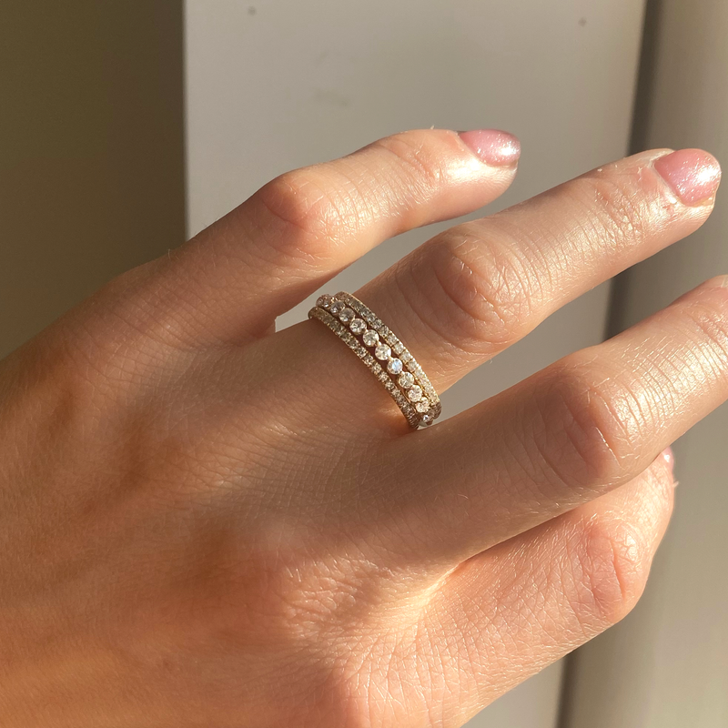 Pavé Eternity Diamond & Floating Diamond Stacking Ring Set