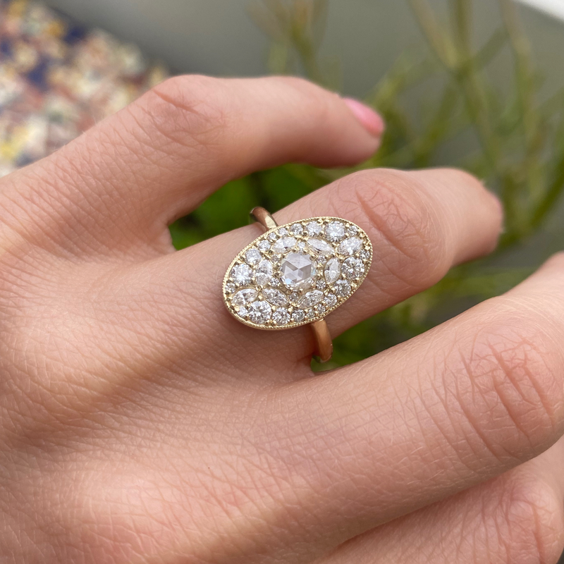 Oval Shape Marquise and Round Diamond Mosaic Ring
