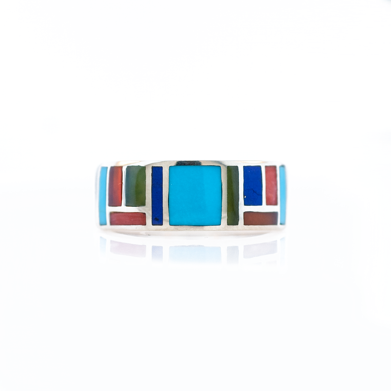 Turquoise & Stone Inlay Couples Wedding Ring Set
