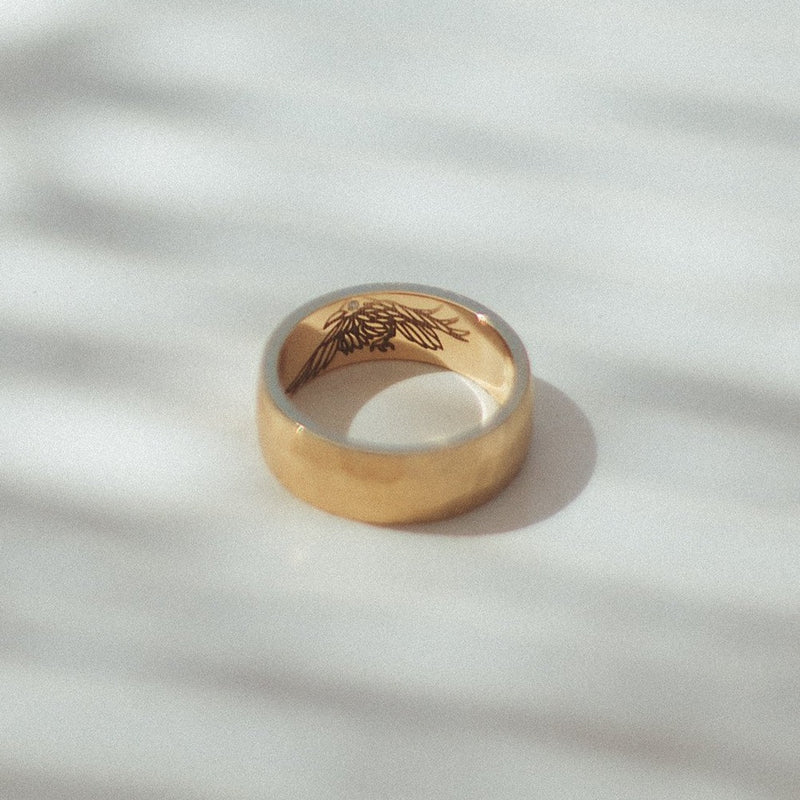 Hammered Satin Wedding Ring with Surprise Engraving